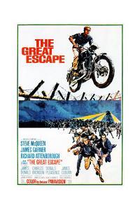 The Great Escape, Steve Mcqueen, Richard Attenborough, James Garner on Poster Art, 1963