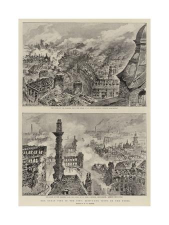 The Great Fire in the City, Bird'S-Eye Views of the Ruins-Henry William Brewer-Giclee Print
