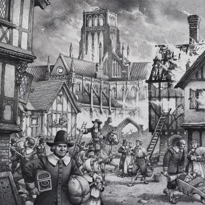 The Great Fire of London-Pat Nicolle-Giclee Print