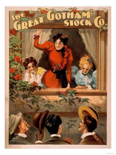 The Great Gotham Stock Co. Theatre Poster-Lantern Press-Art Print
