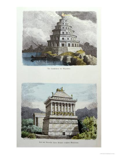The Great Lighthouse of Alexandria and the Mausoleum at Halicarnassus-Ferdinand Knab-Giclee Print
