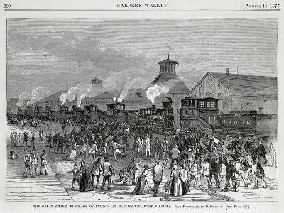 The Great Railway Strike Halting Locomotives at Martinsburg--Giclee Print