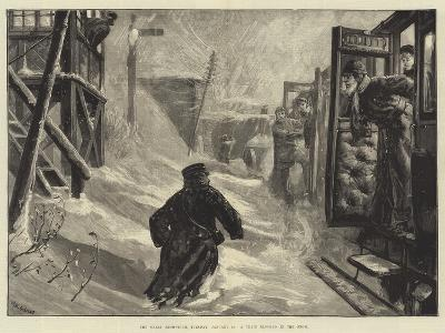 The Great Snowstorm, Tuesday, 18 January, a Train Blocked in the Snow-William Heysham Overend-Giclee Print