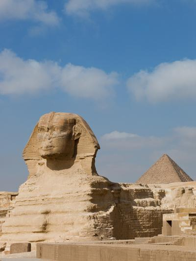 The Great Sphinx and Pyramids of Giza on a Sunny Day-Alex Saberi-Photographic Print