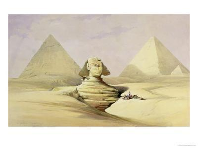 "The Great Sphinx and the Pyramids of Giza, from ""Egypt and Nubia,"" Vol.1-David Roberts-Giclee Print"