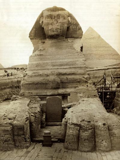 The Great Sphinx Guarding the Pyramids Egypt Statue, c.1910--Photographic Print