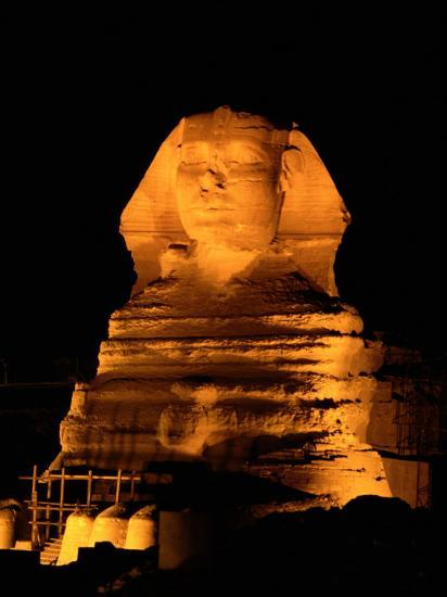 The Great Sphinx Illuminated at Night-Richard Nowitz-Photographic Print