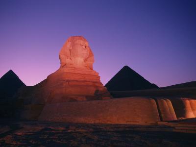 The Great Sphinx Illuminated at Night-Richard Nowitz-Photographic Print