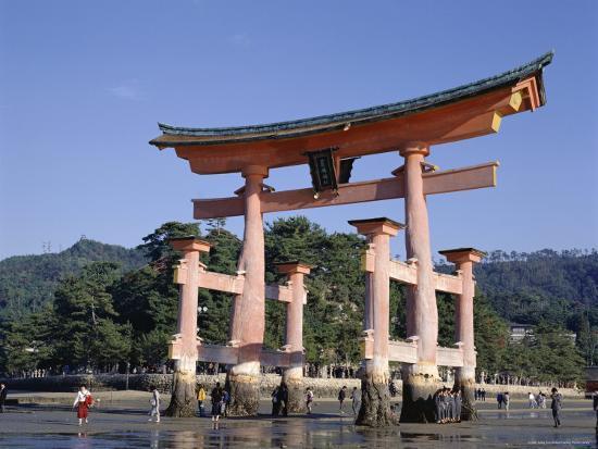 The Great Torii from the Corridor of Itsukushima Shrine, Akino, Miya-Jima, Japan-Adina Tovy-Photographic Print