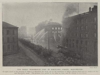 The Great Warehouse Fire in Portland Street, Manchester--Giclee Print