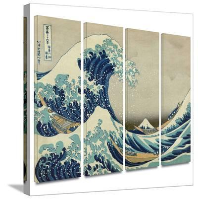 The Great Wave Off Kanagawa 4 piece gallery-wrapped canvas-Katsushika Hokusai-Gallery Wrapped Canvas Set