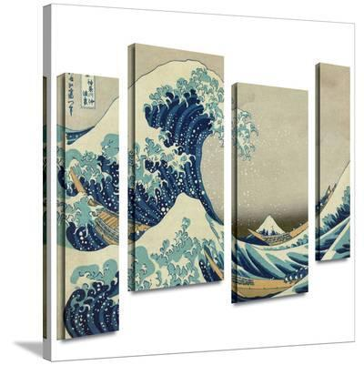 The Great Wave Off Kanagawa 4 piece gallery-wrapped canvas-Katsushika Hokusai-Gallery Wrapped Canvas