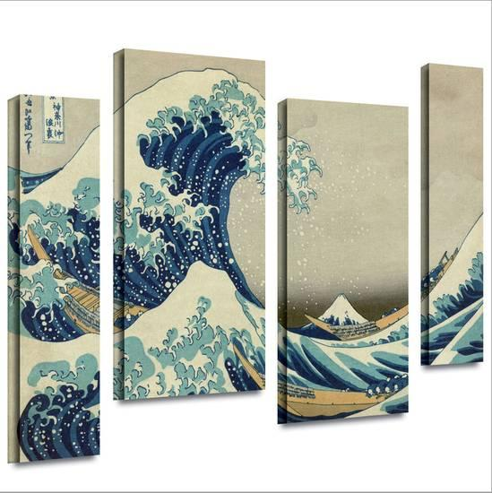the great wave off kanagawa 4 piece gallery wrapped canvas gallery