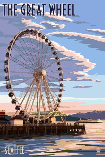 The Great Wheel at Sunset - Seattle, Washington-Lantern Press-Art Print