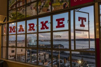The Great Wheel Framed in Pike Market Place Windows in Seattle, Washington State, Usa-Chuck Haney-Photographic Print