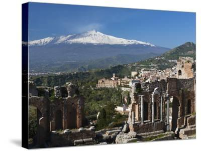 The Greek Amphitheatre and Mount Etna, Taormina, Sicily, Italy, Europe-Stuart Black-Stretched Canvas Print