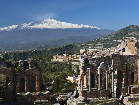 The Greek Amphitheatre and Mount Etna, Taormina, Sicily, Italy, Europe-Stuart Black-Photographic Print