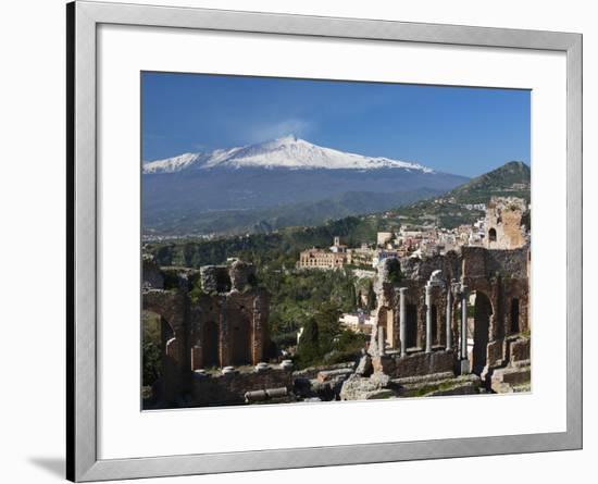 The Greek Amphitheatre and Mount Etna, Taormina, Sicily, Italy, Europe-Stuart Black-Framed Photographic Print