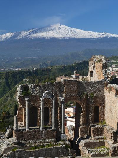 The Greek Amphitheatre and Mount Etna, Taormina, Sicily, Italy, Europe-Stuart Black-Photographic Print