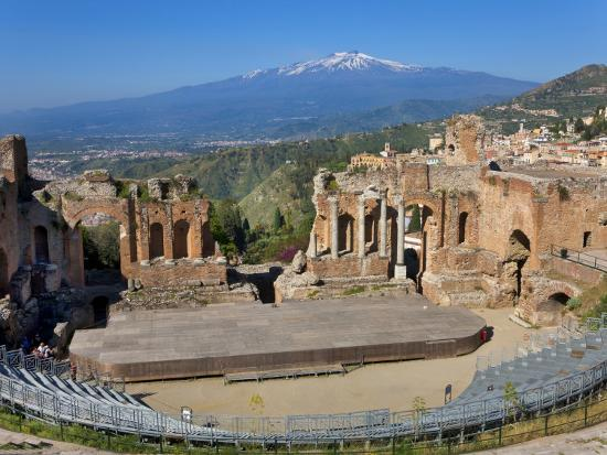 The Greek Theatre and Mount Etna, Taormina, Sicily, Italy-Peter Adams-Photographic Print