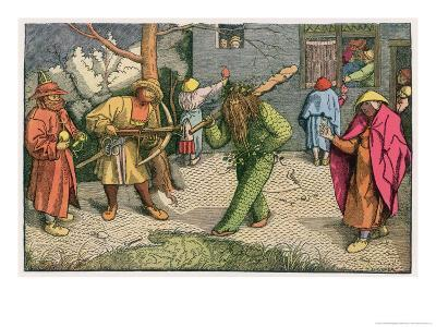 The Green Man Depicted as One of a Group of Shrovetide Characters in 16th Century Holland-Pieter Bruegel the Elder-Giclee Print