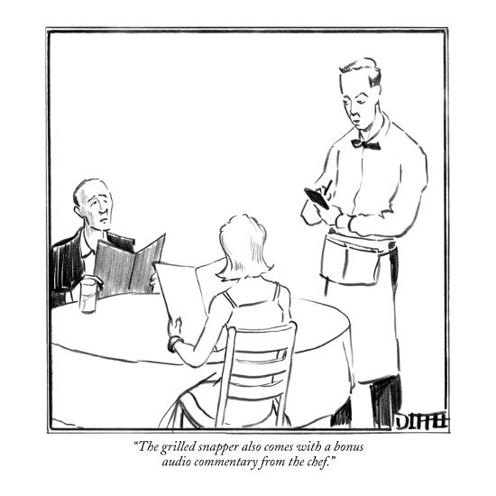 """""""The grilled snapper also comes with a bonus audio commentary from the che…"""" - New Yorker Cartoon-Matthew Diffee-Premium Giclee Print"""