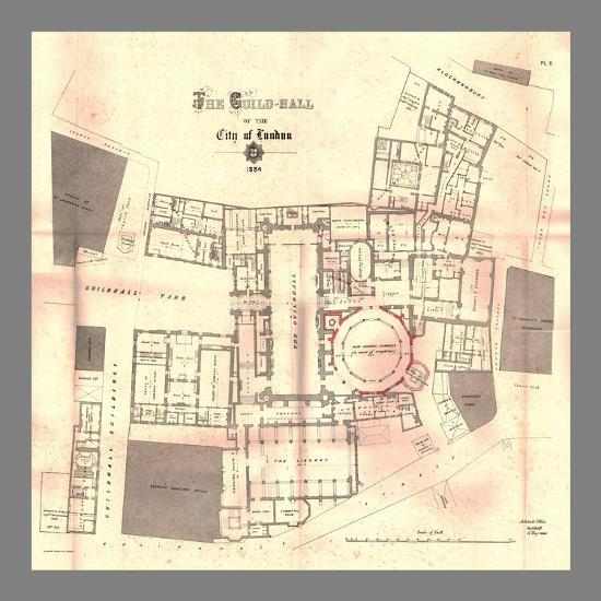 The Guild-Hall of the City of London, Plan, 1884, (1886)-Unknown-Giclee Print