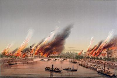 The Gunboat 'La Farcy' Moored in the Seine During the Burning of the Tuileries and the Conseil…-Charles Leduc-Giclee Print