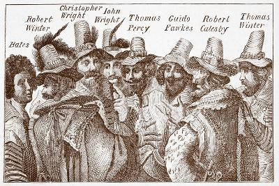 The Gunpowder Plot Conspirators, after a 1606 Engraving--Giclee Print
