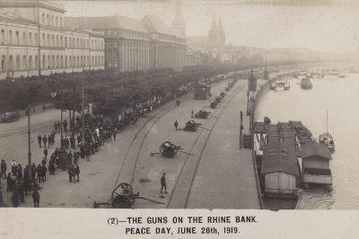 The Guns on the Rhine Bank on Peace Day 28th June 1919--Photographic Print