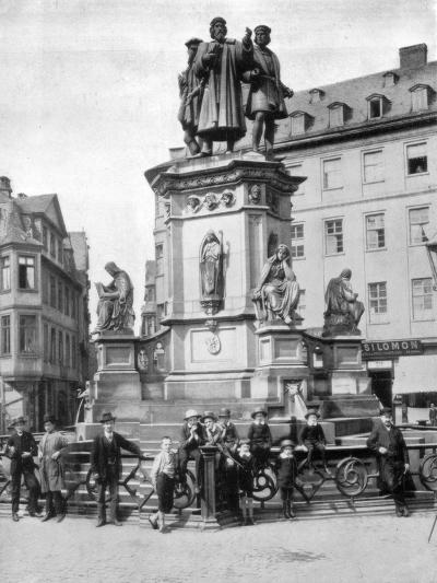The Gutenberg Monument, Frankfurt, Germany, Late 19th Century-John L Stoddard-Giclee Print