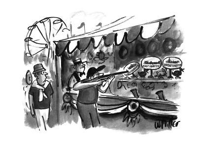 The guy shooting various targets at a booth in a carnival - New Yorker Cartoon-Warren Miller-Premium Giclee Print