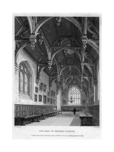 The Hall of Wadham College, Oxford University, 1836-John Le Keux-Giclee Print