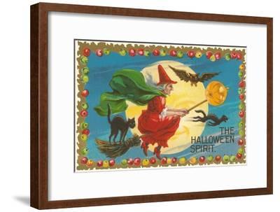 The Halloween Spirit, Witch on Broom--Framed Art Print