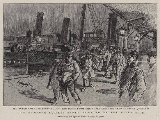 The Hamburg Strike, Early Morning at the River Side--Giclee Print