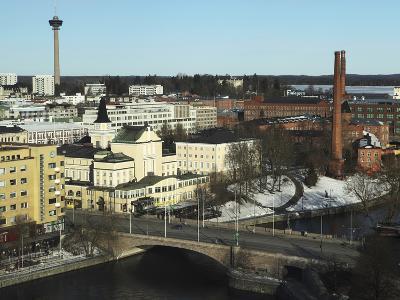 The Hameenkatu Bridge Crosses River Tammerkoski by Tampere Theatre in Tampere, Pirkanmaa, Finland-Stuart Forster-Photographic Print