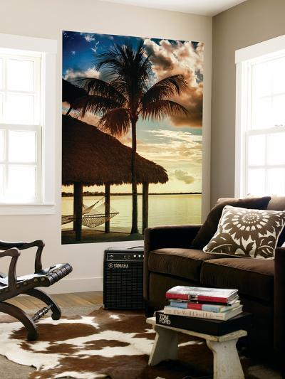 The Hammock and Palm Tree at Sunset - Beach Hut - Florida-Philippe Hugonnard-Wall Mural
