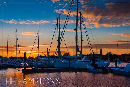 The Hamptons, New York - Boats at Sunset-Lantern Press-Wall Mural
