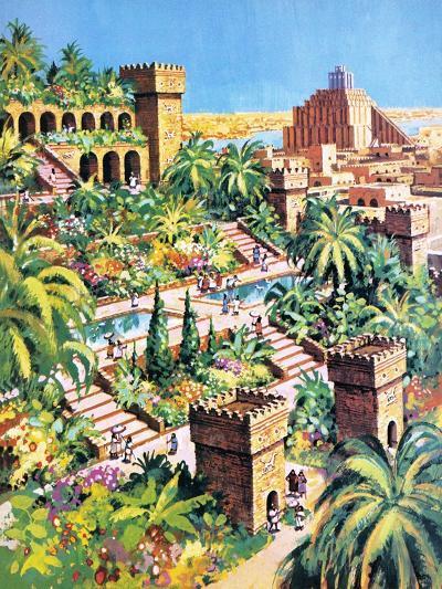 The Hanging Gardens of Babylon- Green-Giclee Print