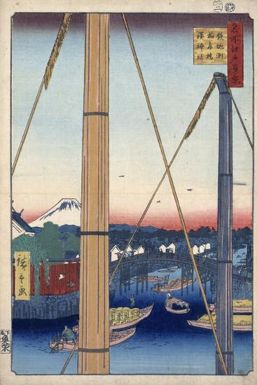 The Harbor Shrine and Inari Bridge at Teppozu, (One Hundred Famous Views of Ed), 1856-1858-Utagawa Hiroshige-Giclee Print