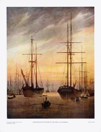 The Harbour of Greifswald-Caspar David Friedrich-Art Print
