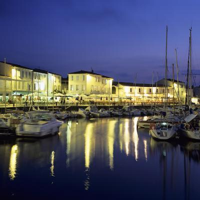 The Harbour with Restaurants at Dusk, St. Martin, Ile de Re, Poitou-Charentes, France, Europe-Stuart Black-Photographic Print