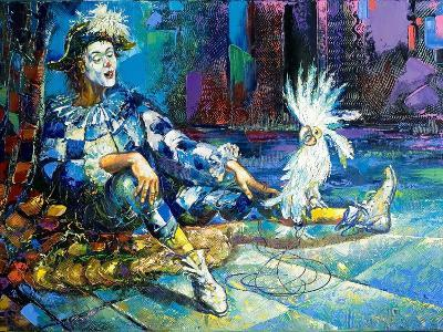 The Harlequin And A White Parrot-balaikin2009-Art Print