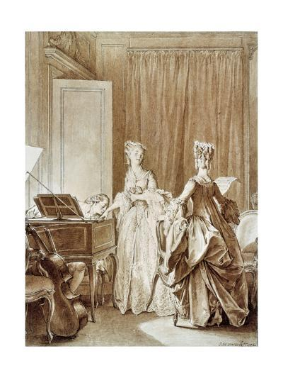 The Harpsichord, Illustration from 'La Nouvelle-Heloise'-Jean Michel the Younger Moreau-Giclee Print
