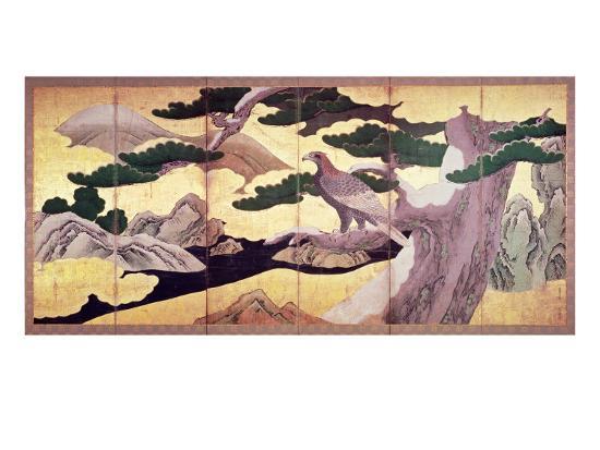 The Hawks in the Pines, 6 Panel Folding Screen- Kano Eitoku-Giclee Print