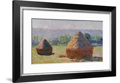 The Haystacks, or the End of the Summer, at Giverny, 1891-Claude Monet-Framed Giclee Print