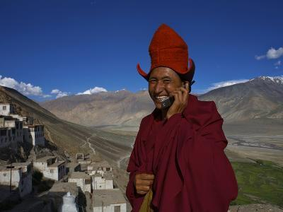 The Head Abbot Holds a Cell Phone at the Karsha Monastery-Steve Winter-Photographic Print