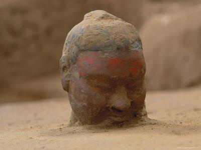 The Head, Encrusted with Dirt, of a Terra-Cotta Soldier Just Emerging-O^ Louis Mazzatenta-Photographic Print