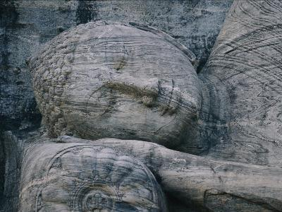 The Head of a Forty-Four-Foot-Long Granite Statue of a Reclining Buddha Entering Nirvana--Photographic Print