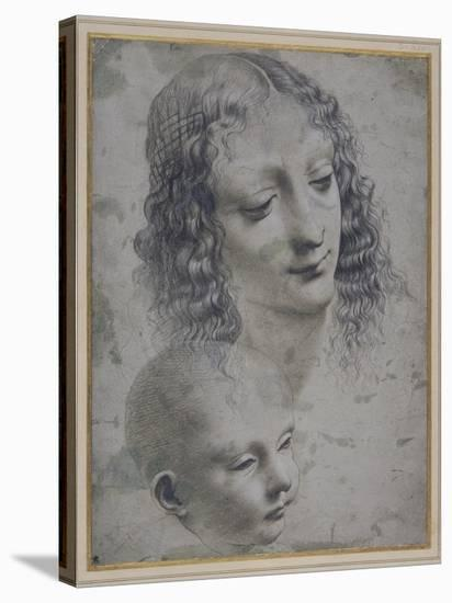 The Head of a Woman and the Head of a Baby-Leonardo da Vinci-Stretched Canvas Print